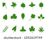 green leaf silhouette vector  | Shutterstock .eps vector #1052619749