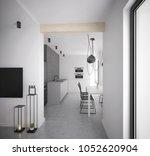 black and white modern kitchen...   Shutterstock . vector #1052620904