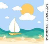 sea waves  ship and tropical... | Shutterstock .eps vector #1052626691
