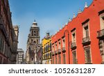 colonial street in mexico city  ...   Shutterstock . vector #1052631287