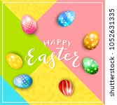 multicolored easter eggs on... | Shutterstock .eps vector #1052631335