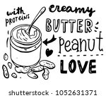 hand drawn peanut butter set... | Shutterstock .eps vector #1052631371