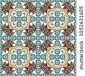 turquoise floral art. vector... | Shutterstock .eps vector #1052631605