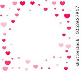 pink hearts confetti falling on ... | Shutterstock .eps vector #1052637917