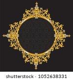 golden frame with vintage... | Shutterstock .eps vector #1052638331