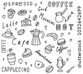 set of hand drawn coffee... | Shutterstock .eps vector #1052642699