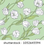 white tulips  seamless vector... | Shutterstock .eps vector #1052645594