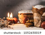 easter bread  painted eggs and... | Shutterstock . vector #1052650019