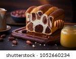 leopard pattern chocolate bread ... | Shutterstock . vector #1052660234
