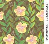 seamless pattern with gouache... | Shutterstock . vector #1052660651
