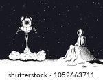 lunar module launch landing on... | Shutterstock .eps vector #1052663711