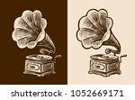 gramophone sketch. retro music  ... | Shutterstock .eps vector #1052669171