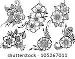 set of six black vector flowers | Shutterstock .eps vector #105267011