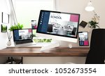 floating stuff and devices with ... | Shutterstock . vector #1052673554