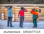 three foresters are having...   Shutterstock . vector #1052677115