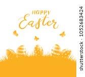 orange background with easter...   Shutterstock .eps vector #1052683424