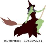 green beautiful witch  | Shutterstock .eps vector #1052693261