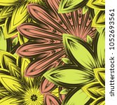 seamless floral background.... | Shutterstock .eps vector #1052693561