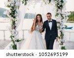 happy family of groom and bride ... | Shutterstock . vector #1052695199