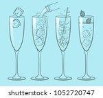 set glass cocktail champagne | Shutterstock .eps vector #1052720747