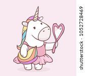 vector cartoon unicorn girl in... | Shutterstock .eps vector #1052728469