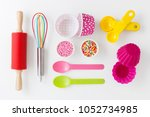 baking and kitchen utensils and ... | Shutterstock . vector #1052734985