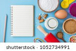 baking ingredients and utensils ... | Shutterstock . vector #1052734991