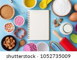 baking ingredients and utensils ... | Shutterstock . vector #1052735009