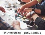 group of creative friends... | Shutterstock . vector #1052738831