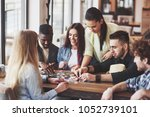 group of creative friends... | Shutterstock . vector #1052739101