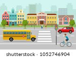 city street panoramic. city... | Shutterstock .eps vector #1052746904