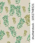 seamless leaves pattern. vector ... | Shutterstock .eps vector #1052748521