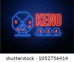 neon lottery keno background on ... | Shutterstock .eps vector #1052756414