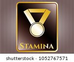gold emblem with medal icon... | Shutterstock .eps vector #1052767571