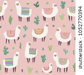 seamless pattern with llama ...   Shutterstock .eps vector #1052770394