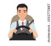 Asian Man Driving A Car. Man...