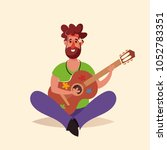 funny cartoon character. hippie ... | Shutterstock .eps vector #1052783351