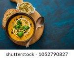 delicious homemade pumpkin soup ... | Shutterstock . vector #1052790827