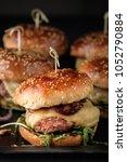 homemade juicy burgers with... | Shutterstock . vector #1052790884