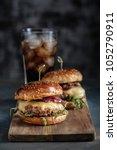 homemade juicy burgers with... | Shutterstock . vector #1052790911