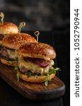 homemade juicy burgers with... | Shutterstock . vector #1052790944