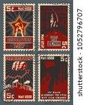 old soviet communism propaganda ...   Shutterstock .eps vector #1052796707