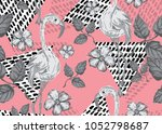 elegant seamless pattern with... | Shutterstock . vector #1052798687
