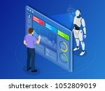 isometric maintenance engineer... | Shutterstock .eps vector #1052809019