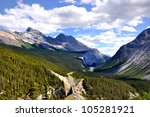 Panoramic view of Icefields Parkway between Canadian Rocky Mountains - stock photo