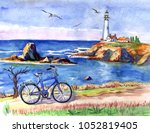 seascape with a lighthouse and... | Shutterstock . vector #1052819405