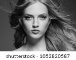 young beautiful woman face... | Shutterstock . vector #1052820587