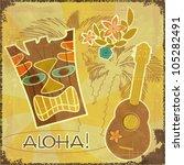 retro hawaiian postcard  ... | Shutterstock .eps vector #105282491