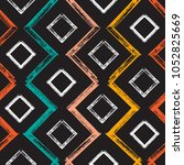 colorful squares and zigzag... | Shutterstock .eps vector #1052825669