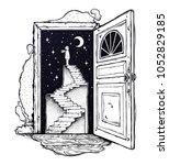 open door into a dream.... | Shutterstock .eps vector #1052829185